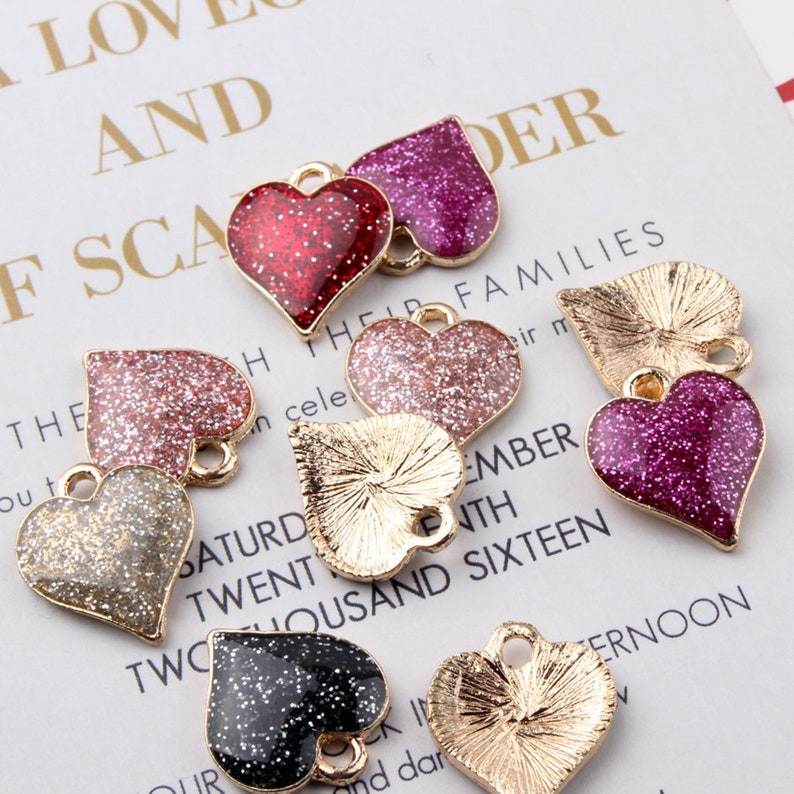 10pcspack Cute shining glitter peach heart Alloy Enamel charms,DIY Craft jewlery Supplies,,keychain phone lucky charms,chain accessories.