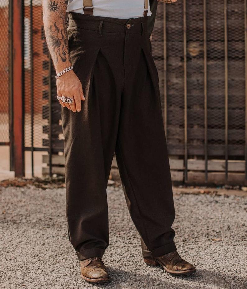 1940s Trousers, Mens Wide Leg Pants Zoot Trousers jdbgoodvintage $197.00 AT vintagedancer.com