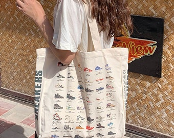 Handmade Nike Shoes Print  Cute illustration Canvas Tote Bag,Hand Embroidered,Reusable Grocery Bag,Girls Bags For Book,Shopping,Market