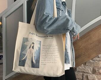 Vintage Retro Girl Oil Painting Handmade Tote Bag,Retro Letter Bag,Large Tote Bag,Reusable Grocery Bag,Girls Bags For Book,Shopping,Market