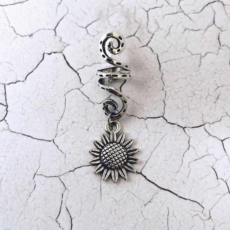 Cuffs Spirals Sunflower or Celtic Knot Charms Rings With Pentagram Witchy Dreadlock Beads