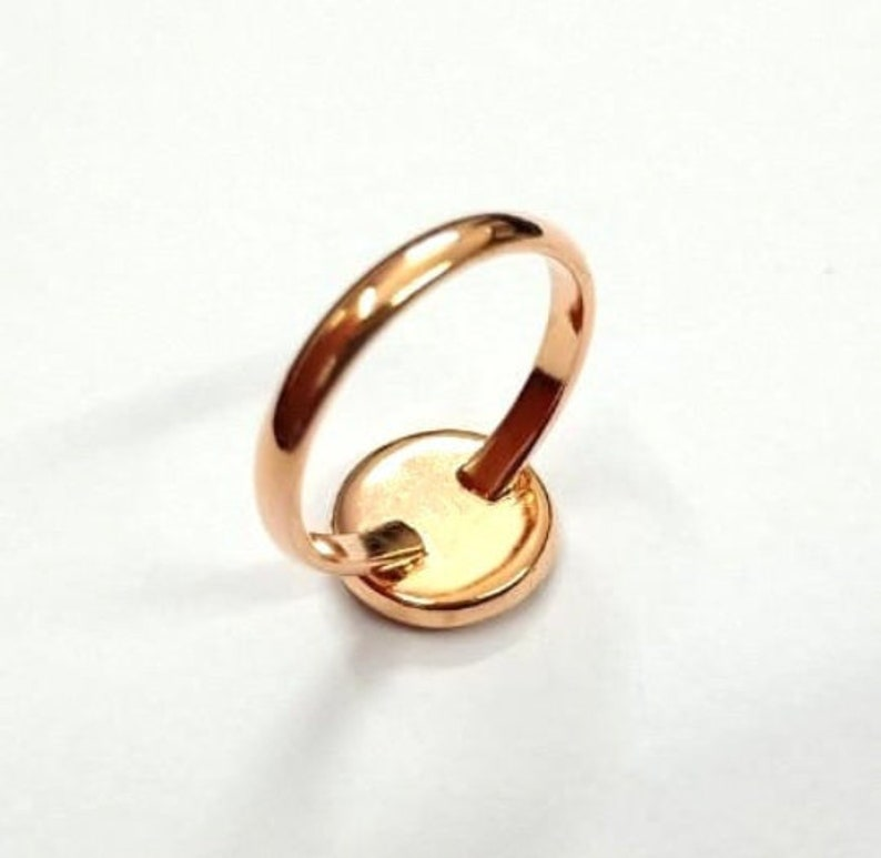 Rose Gold Plated Ring Bezel Over 925 Sterling Silver For Round Shape Gemstone Ring Bezel Setting Thick Bezel Round Ring Setting Cup