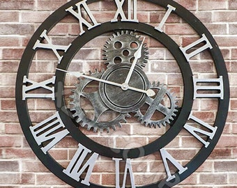 58cm Extra Large Roman Numerals Skeleton Wall Clock Big Giant Open Face Round