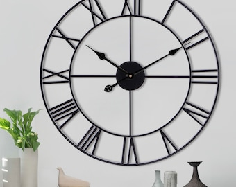 Bestselling Wall Clock Extra Large Roman Numerals Skeleton Wall Clock Big Giant Open Face Round 60cm/40cm/80cm