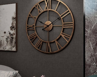 60cm/40cm Large Skeleton Metal Roman Big Wall Clock Numerals Giant Open Round Face Bronze Colour, Bestselling Silent Wall Clock No tick-tack