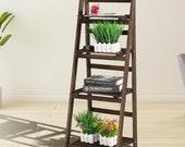 4 Tier Flower Plant Pot Shelf Display Ladder Garden Rack Step Style Wood