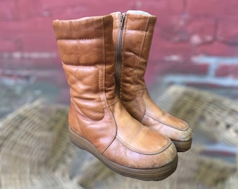 Vintage Blondo Leather Winter Boots / Caramel Leather and White Fleece / Size 7