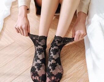 Flower See-through Socks DressHairbandSetEasyCuteKawaiiThemePartyGirlBoyCouplePouchChillPinkSkirtPantsshorts
