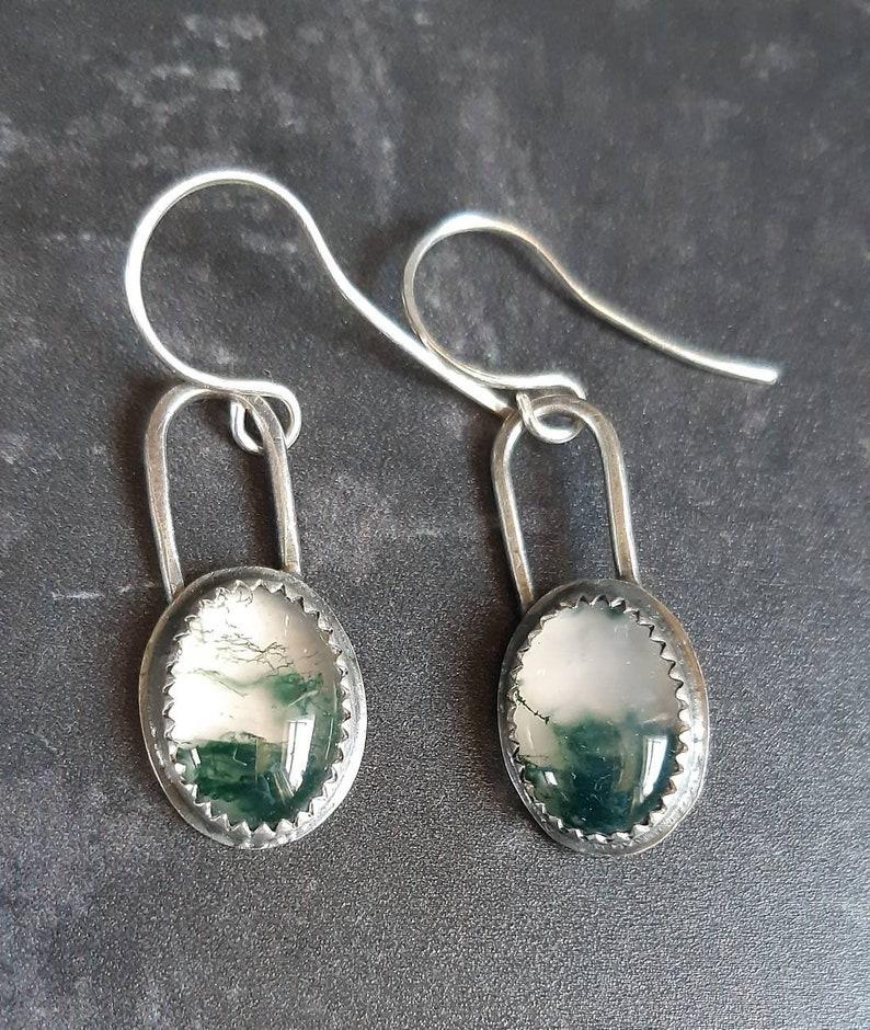 moss earrings, silver gemstone earrings Moss agate sterling silver drop earrings