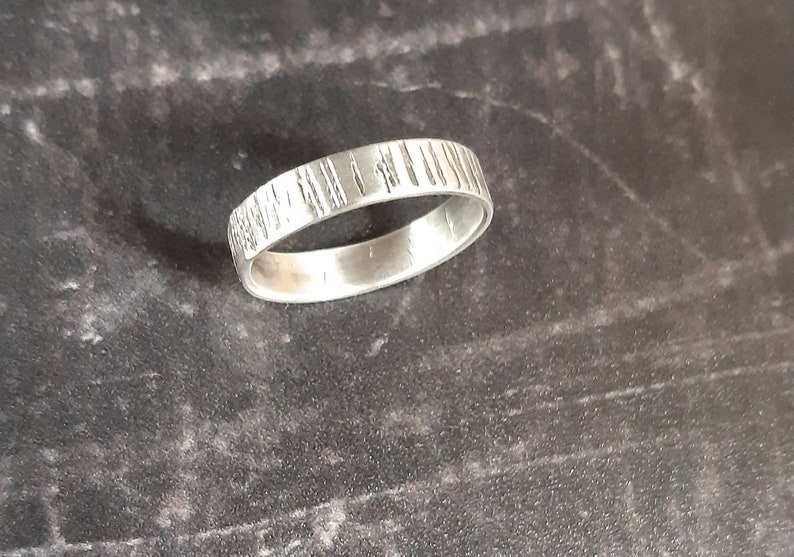 Sterling silver textured ring band silver ring size P