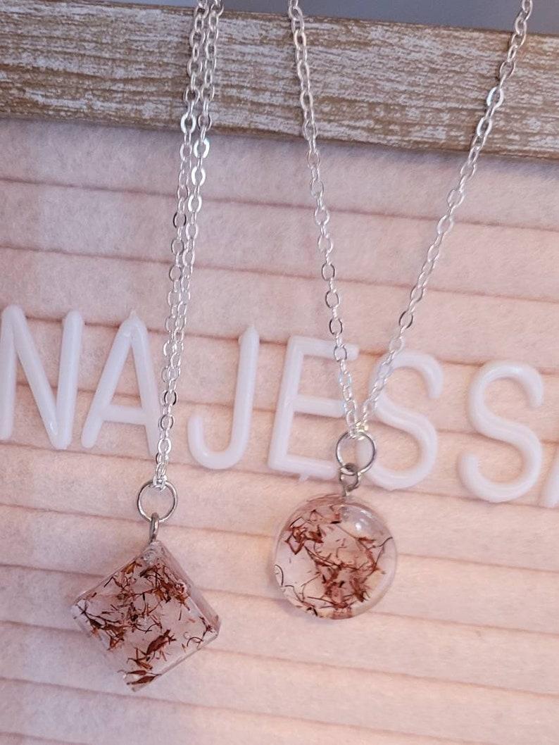 plant jewelry fucshia silver purple jewelry babys breath jewelry Baby/'s Breath pendant necklace resin charm Baby/'s Breath necklace