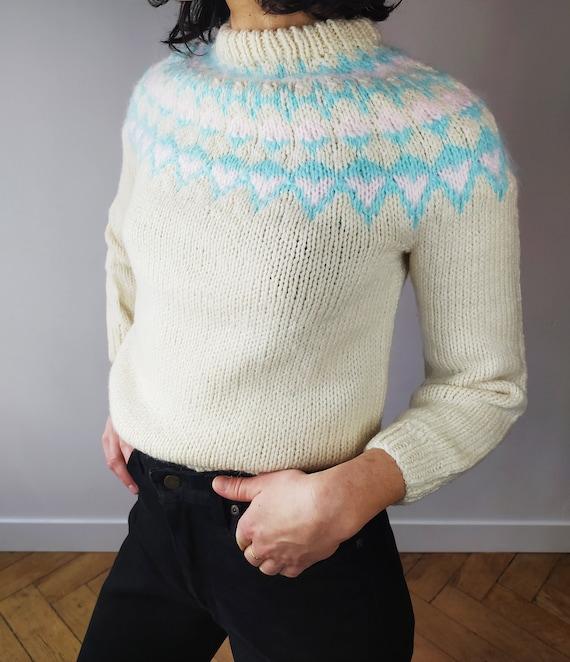 Vintage Icelandic  Handknitted Wool Sweater