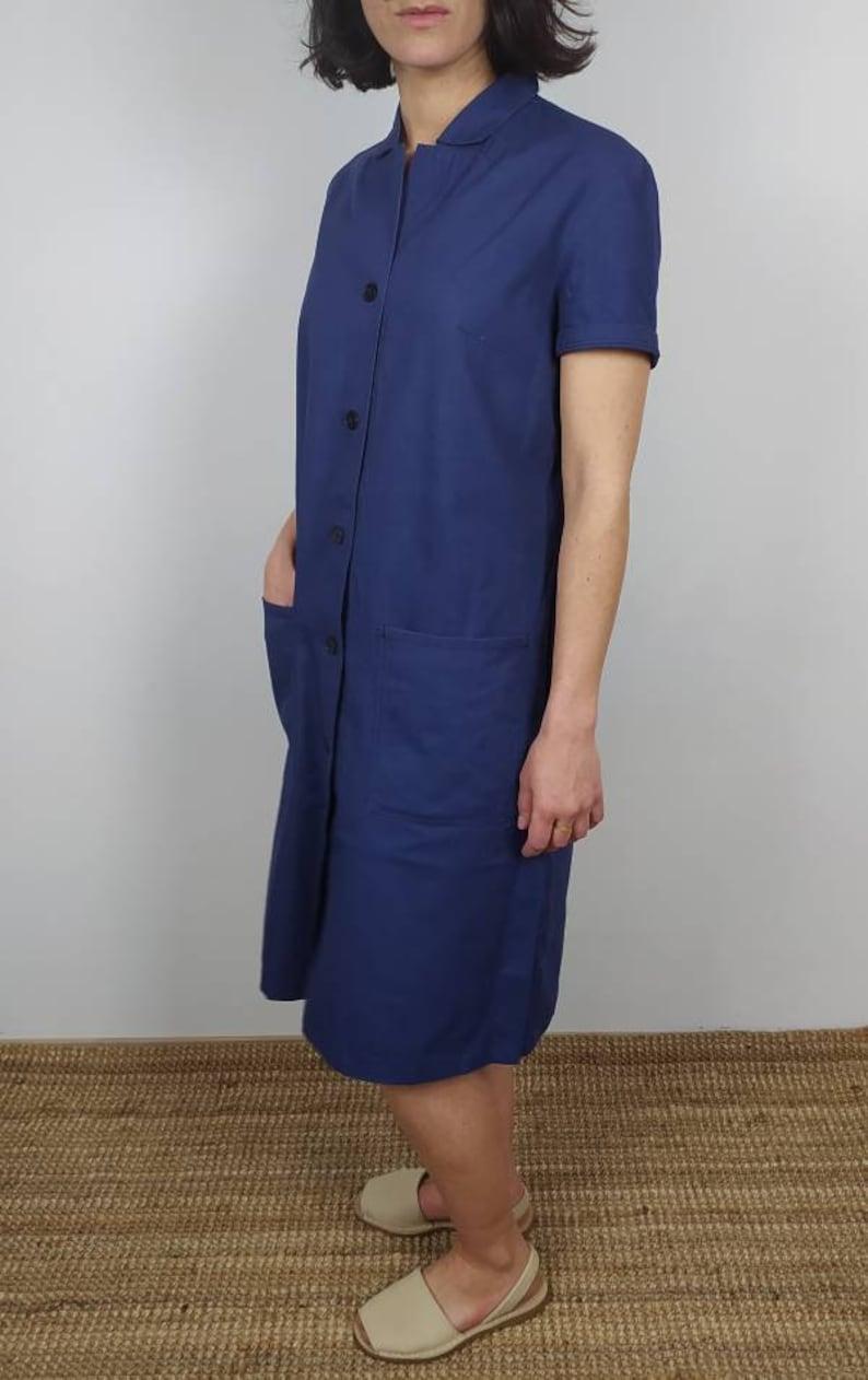 Size M. Vintage German Work Dress in Herringbone Canva Cotton