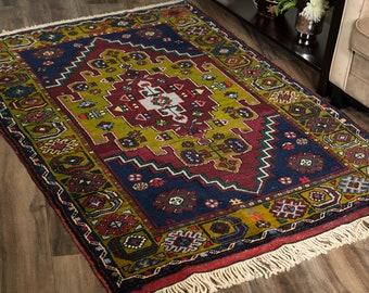 "Vintage Turkish Rug | 4'1""x5'3"" | Handwoven Wool Rug"