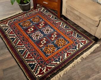 "Vintage Turkish Rug | 3'3""x4'4"" | Handwoven & Handknotted"