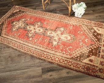 "Vintage Turkish Rug | 3'2""x8' | Handwoven Runner Rug"