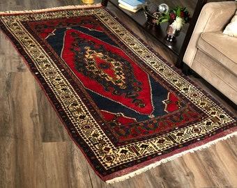 "Vintage Turkish Rug | 3'7""x6' | Red & Indigo | Handwoven Wool Area Rug"