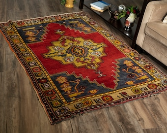 "Vintage Turkish Rug | 4'1""x5'7"" | Handwoven Wool Area Rug"