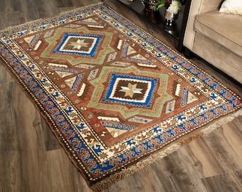 "Vintage Turkish Rug | 4'x5'7"" | Brown & Blue | Handwoven Wool Area Rug"