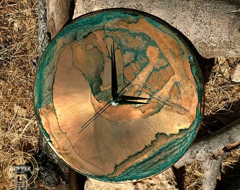 Minimalist Clock   Patina Copper Wall Clock   Unique Wall Clocks   Farmhouse Wall Clock   Green Large Wall Clock   Clocks For Wall
