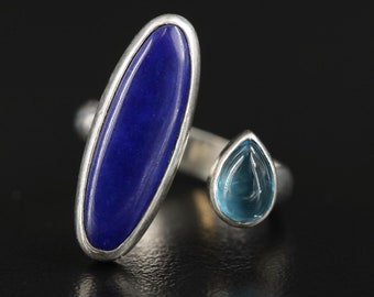 Modern, Open Shank, Lapis and Blue Topaz Sterling Silver Ring
