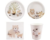 Woodland Forest Animals Creatures Tableware Set for 16 Guests Including Dinner Plates, Dessert Plates, Lunch Napkins, Cups