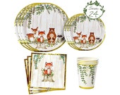 Woodland Creatures Theme Baby Shower Birthday Party Supplies For Boy or Girl Decorations with plates, napkins and cups