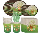 Woodland Animal Creatures Party Supplies, 69Pcs Jungle Theme Party Supplies Decorations with Plates Napkins Cups Straws- Serves 8