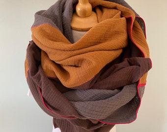 Muslin Cloth Ladies XXL Cloth Organic Cotton chocolate brown/curry/anthracite light cloth