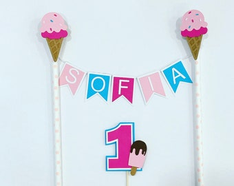 Ice cream cake topper/ personalised topper/ summer birthday decor/smash cake/1st birthday/first birthday/ cake supplies/ custom cake topper