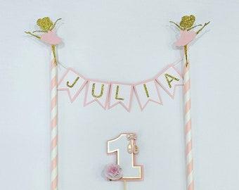 Ballerina cake topper/ personalised topper/ girl birthday cake/smash cake/1st birthday/first birthday/ cake supplies/ custom cake topper