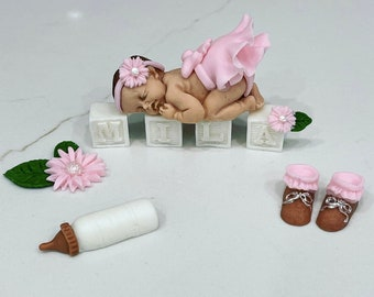 baby shower cake topper/Fondant baby cake topper/cake supplies/baptism cake topper/sugar topper/1st birthday cake/sleeping baby cake