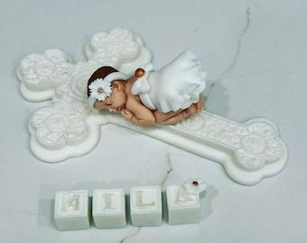 Fondant baby girl cake topper, baby cake topper, baby girl cake topper, cake supplies, baptism cake topper, cake topper
