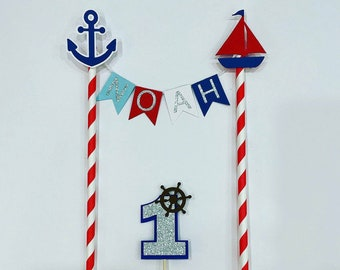 Nautical cake topper, glitter topper, sail topper cake topper, personalised cake topper, party supplies, anchor topper, sail cake topper