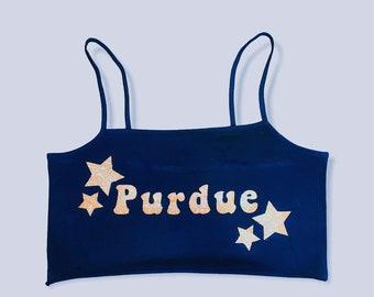 Purdue University Glitter Crop Top Tank