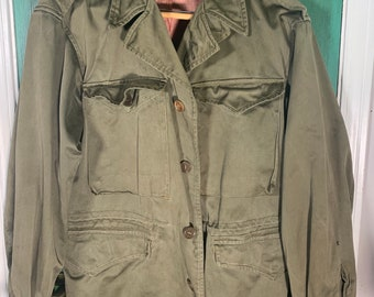 Vintage 1940s US Military M-43 Field Jacket Mens Size Large WW2 Distressed