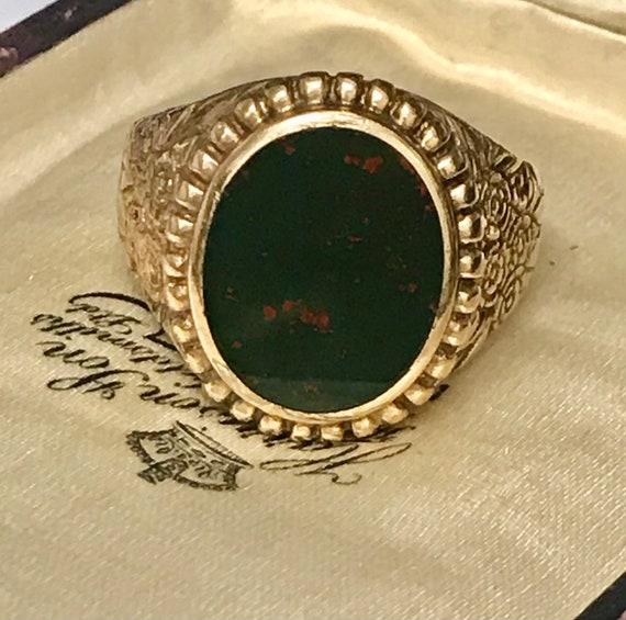 Vintage 9k Blood stone Men's ring