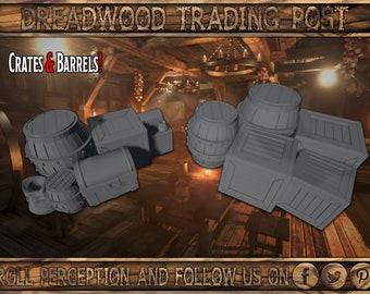 Barrels/'n/'Crates 11Pcs  Fantasy  Northvakt  DnD  D/&D  40k  Pathfinder  Terrain  3D Layered Scenery