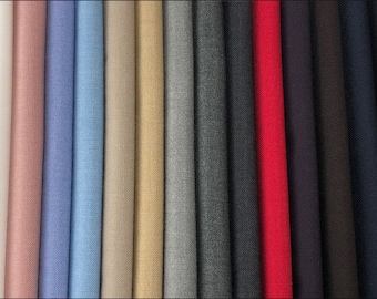 Worsted Wool Suiting Fabric, Spring and Autumn Apparel Fabric, Twill Worsted Wool Fabric, Sewing Fabric, By the Half Yard