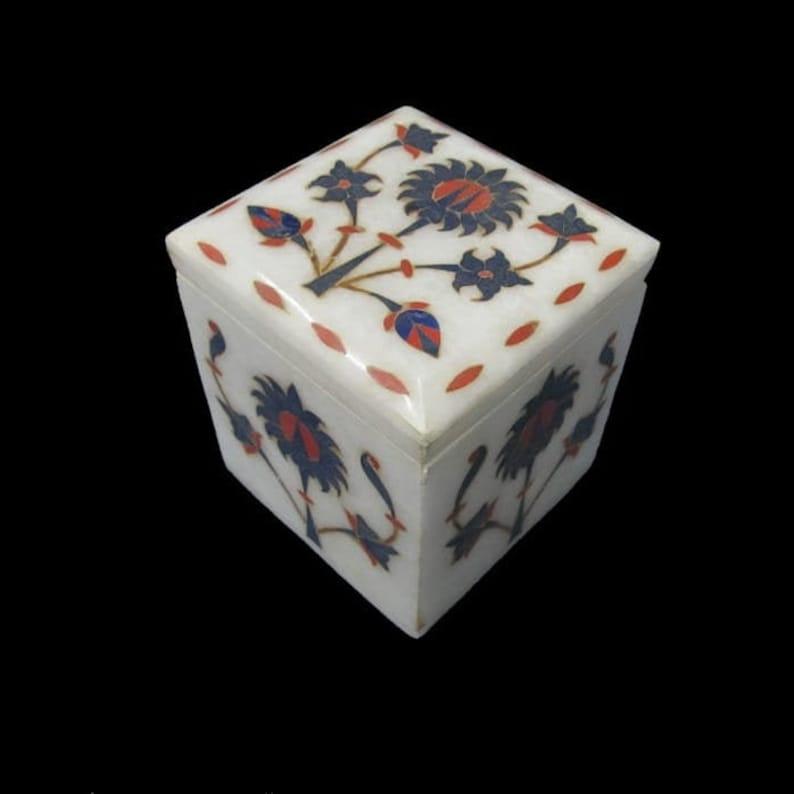 Jewelry Box White Marana Marble Lapis Semi Precious Stone Home Decor Gift
