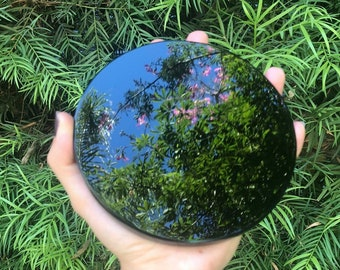 Large Black Obsidian Mirror - Mexican Natural Obsidian Mirror ( 100 - 200mm )