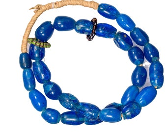266 beads /& 45 Inches long Gorgeous 45 Inch Long Antique Cobalt Blue Dutch Glass Trade Beads