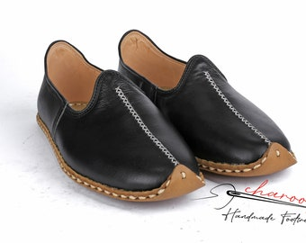 Flat  Traditional Yemeni Shoes Anatolian Shoes Brown Color Handmade Slip Ons Leather Loafer Men/'s Comfort Flat  Leather House Shoes