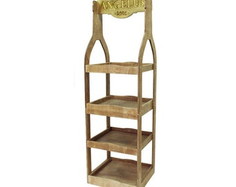4 Tiered Rustic Bottle, Retail Wooden Display Rack, Collapsible Display, Free Shipping