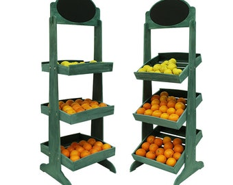3 Tiered Wooden Merchandiser Display with combination of Horizontal and Angled shelving, Collapsible Rack, Free Shipping