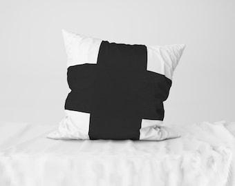 "Throw Pillow Case / Square Cushion Case Black Thick Cross - 18"" x 18"", 22"" x 22"""