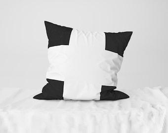 "Throw Pillow Case / Square Cushion Case White Thick Cross - 18"" x 18"", 22"" x 22"""