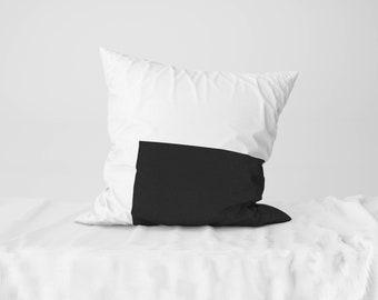 "Throw Pillow Case / Square Cushion Case Black Rectangle - 18"" x 18"", 22"" x 22"""