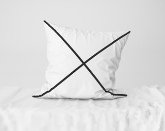 "Throw Pillow Case / Square Cushion Case Black Cross - 18"" x 18"", 22"" x 22"""