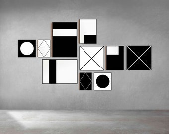 Monochrome Posters, Set of 10 Prints with Simple Geometry (Printable Art)